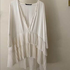 Zara Pleated Chiffon Ruffle Dress
